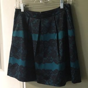 The Limited teal skirt with black lace design